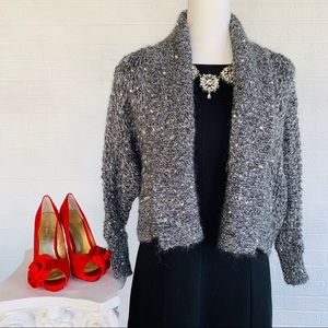 🎄 EXPRESS Sequined Sweater Shrug - Grey - S 🎄